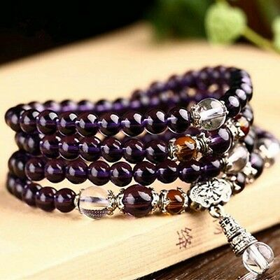 6mm Stone Buddhist Amethyst 108 Prayer Beads Mala Bracelet / Necklace DAJ9072-5