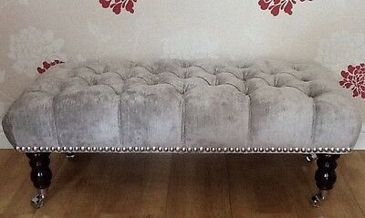 A Quality Long Deep Buttoned Footstool In Laura Ashley Villandry Grey Fabric