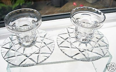 Stourbridge Crystal 2 Wide Based Candlesticks Candle Holders with X & Fan Cut