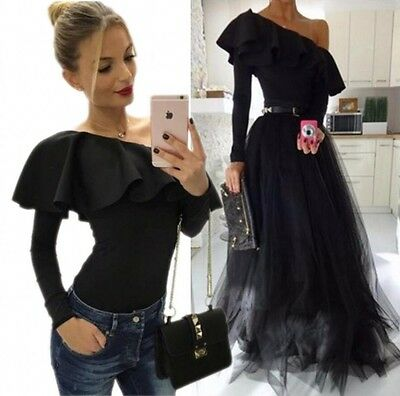 New Women Fashion Sexy Ruffles Long Sleeve Top Bodycon Jumpsuit Bodysuit Overall