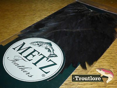 Metz Hen Saddle #1 Black For Wings & Soft Hackle - New Fly Tying Cape Feathers