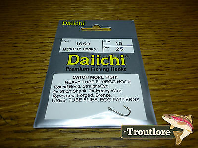 25 x DAIICHI 1650 #10 EGG & TUBE FLY HOOK NEW FLY TYING 2X HEAVY TRAILER HOOKS