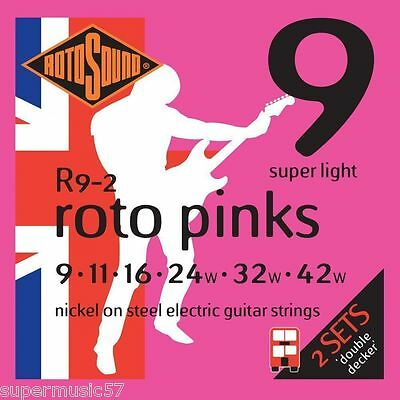2 x Sets Rotosound R9 Roto Pinks Electric Guitar Strings 09-42 Super Light