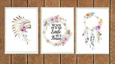 Set of 3 Boho Tribal Watercolor Prints Poster Prints Nursery Girl Decor Wall Art