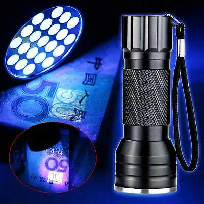 UV Ultra Violet 21 LED Flashlight Blacklight Light 395nm Inspection Lamp Torch
