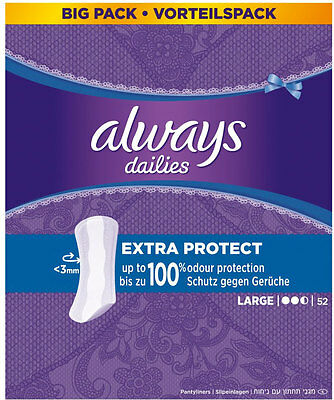 Always Dailies Pantyliners - Large (52) FREE UK DELIVERY