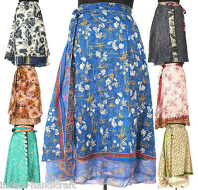 5 Long Length Vintage Silk Sari Magic wrap skirts dress Wholesale lot India SW1