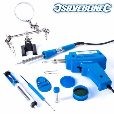 FULL ELECTRIC SOLDERING KIT Iron/Gun/Magnifying Glass Stand/Wire/Desolder Tool