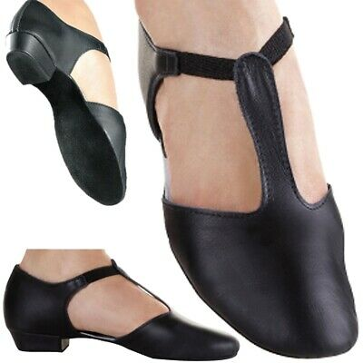 Greek Dance Shoes Teaching Black Leather dancing Jive Sandals Ceroc Salsa (CC)