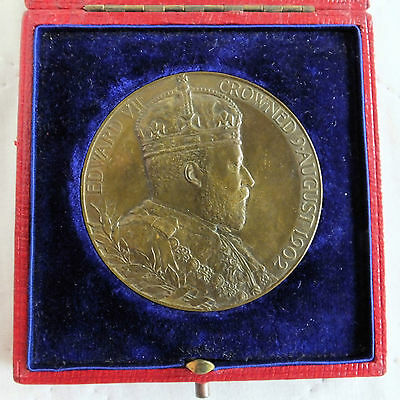 1902 CORONATION OF EDWARD VII & ALEXANDRA LARGE 55mm BOXED MEDAL