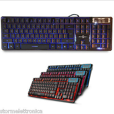 Tastiera Retroilluminata Led Multimediale Usb Keyboard Gaming Laptop Pc Computer