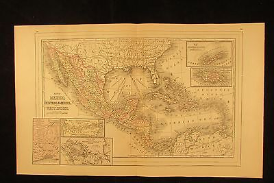 Caribbean Sea West Indies Bermuda Mexico 1894 fine antique hand colored map