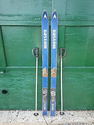 """VINTAGE Wooden 53"""" BLUE Skis with Cable Bindings and Metal Ski Poles"""