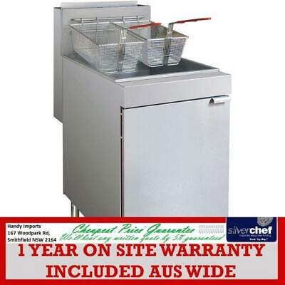 Fed Commercial Superfast Gas Tube Twin Vat Fryer Stand Alone Floor Model Rc400T