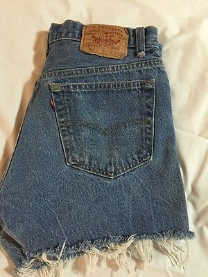 "vintage W 30"" LEVI's original 501 Shrink-to-Fit RED LINE cut-off shorts Distress"