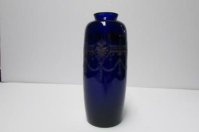 "Beautiful Rich Cobalt Blue 8"" Vase with Gold Etched Deco Design"