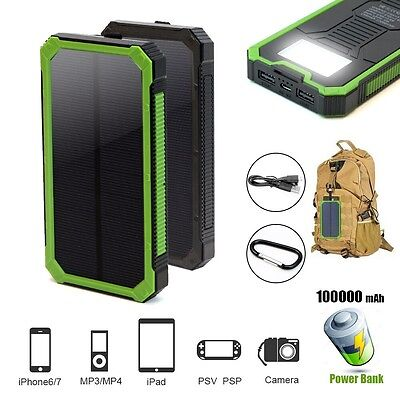 Portable 100000mAh Solar Power Bank Dual USB Charger Waterproof For Phone Tablet