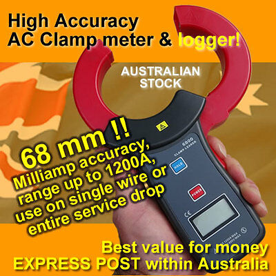 High Accuracy large (68mm!) Digital AC Clamp meter (millamps) USB/logger