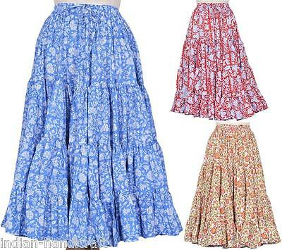 5 Skirts 25 Yards Hand Block Print Belly Dance Cotton 4-Tier Gypsy Boho SW27