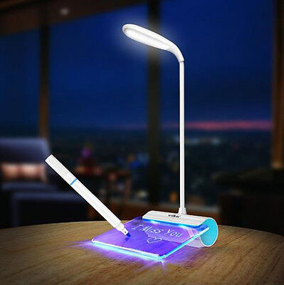 LED Desk Table Reading Lamp Light + Message Board USB Rechargeable Touch Switch