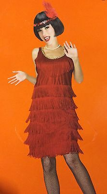 Halloween Adult Lady Ladies Party Costume Dress Outfit Set 20's Red Flapper