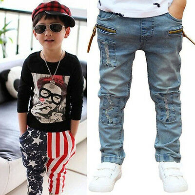 Kids Boys Toddler Stars Casual Harem Pants Stretch Denim Jeans Trousers 3-11Y UK