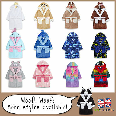 Kids Childrens Novelty Dressing Gown Robe Fun Fleece Character Design Ages 2-13