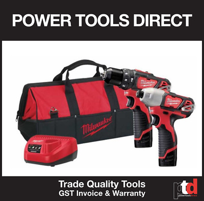 New Milwaukee 12V Cordless Hammer Drill Impact Driver 2 Piece Kit M12Bpp2B-152C
