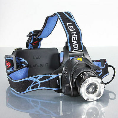 2000LM Cree XML XM-L T6 LED Rechargeable Zoomable Head Torch Headlamp Headlight