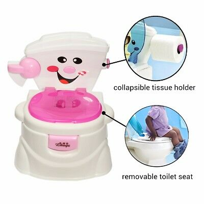 2 in 1 Kids Baby Toilet Training Children Toddler Potty Trainer Seat Safe Chair