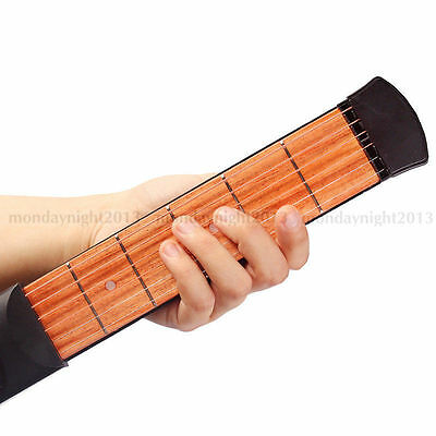 Black Plastic 6 Fret 6 String Travel Pocket Guitar Portable Practice Tool