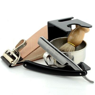 Luxury Wet Shaving Set ZY430+ Shave Ready Straight Razor+Brush+Bowl+Stand+Strop