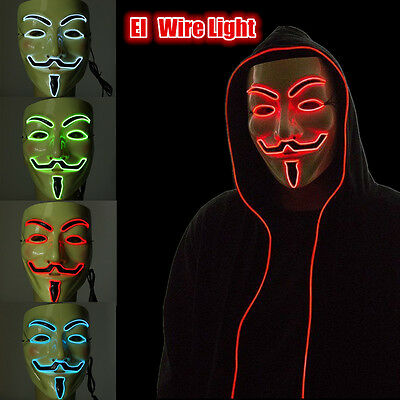 El Wire Light LED Masque Pour Halloween Vendetta Anonymous V Guy Costume Cosplay