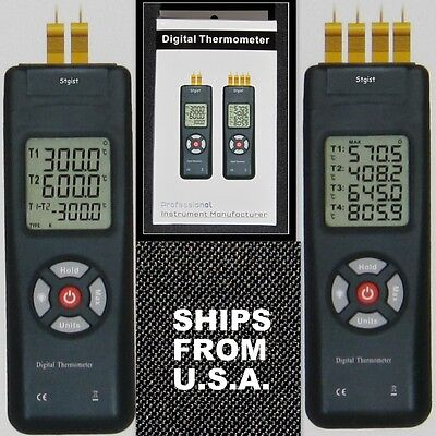 New 4-Channel K-Type Digital Thermometer Thermocouple Sensor -200~1372°C/2501°F