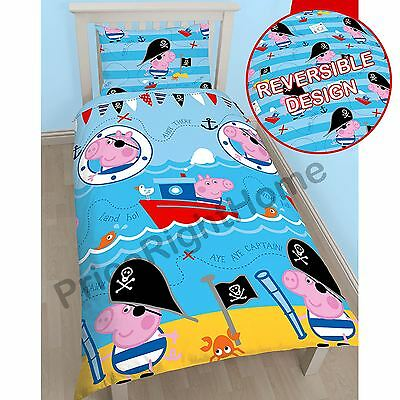 Peppa Pig George Pirate Single Duvet Cover & Pillowcase Set Kids Bedroom New