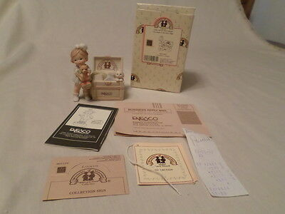 "Enesco Memories Of Yesterday ""girl With Toy Chest""  Mib"
