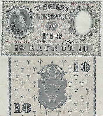 Sweden 10 Kronor Banknote,1950 Very Fine Condition Cat#40-K-4252