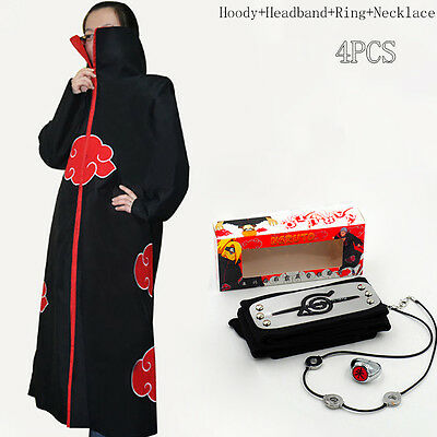 Anime Naruto Akatsuki Uchiha Itachi Cosplay Cloak +Ring+Headband+Necklace 4PCS