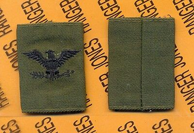 US ARMY Colonel COL OD Green & Black slip on rank patch