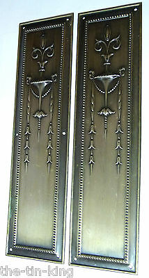 Pair Antique Pressed Brass Fancy Door Finger Plate Silvery Bronze Finish