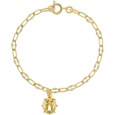 18k Gold Plated Clear Ladybug Charm Chain Children's Bracelet  5.5""