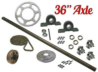 "Drift Trike Kit Set with Clutch #41 Chain 36"" Axle Length Pillow Block Bearings"
