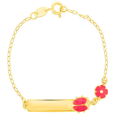 18k Gold Plated Pink Flower and Ladybug Tag ID Girl Bracelet 6""