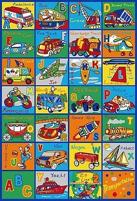 3 x 5 ABC's ALPHABET TRANSPORTATION KIDS CHILDREN AREA RUG EDUCATIONAL