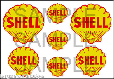 Vintage Style 1 3/4 And 1/2 Inch Shell Gas Oil Decal Sticker