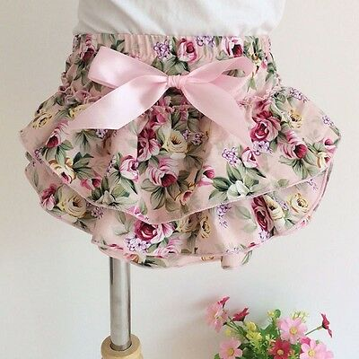 Frilly Bloomer Nappy Cover Photo Prop 0-3 Months Pink Floral Cotton