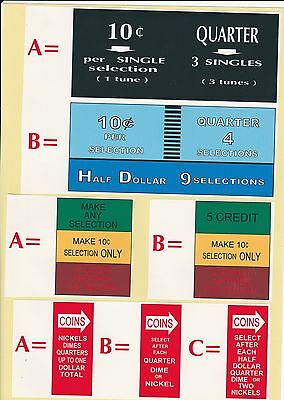 Set Of 3  Jukebox Seeburg   220  222   Coin Instruction Select  Ect   Plastics