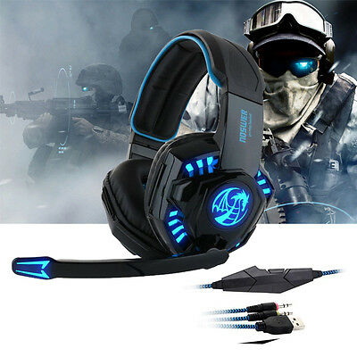 USB 3.5mm LED Gaming Headset Surround Stereo Headband Headphone With Mic For PC