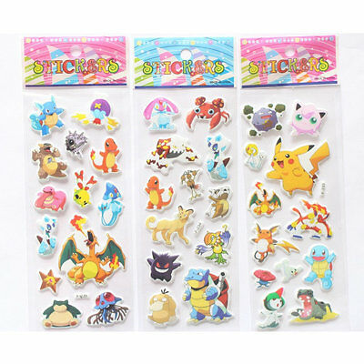 3pcs New Pokemon Stickers Pikachu Pocket Scrapbooking Sticker Sheet Gift