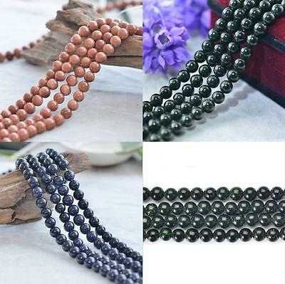 """Wholesale Natural Blue/Gold/Green Sand Gemstone Round Spacer Loose Beads 15.5"""""""